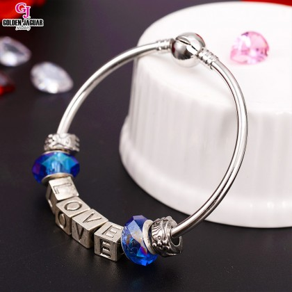 GJ Jewellery Emas Korea Charm Bracelet - First Love - Blue (PDR0009)