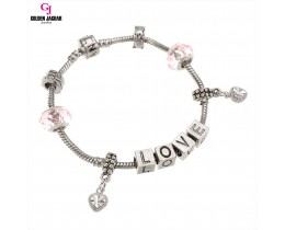GJ Jewellery Emas Korea Charm Bracelet - First Love - Pink (PDR0008)