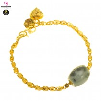 GJ Jewellery Emas Korea Bracelet - Siput Kikir + Full of Love + Jade (2460540-2A-J)