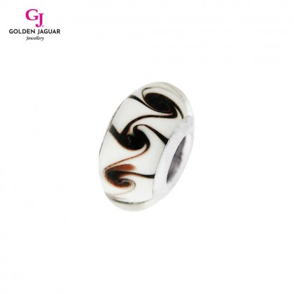 GJ Jewellery Emas Korea PDR - Charm White with Brown Spiral