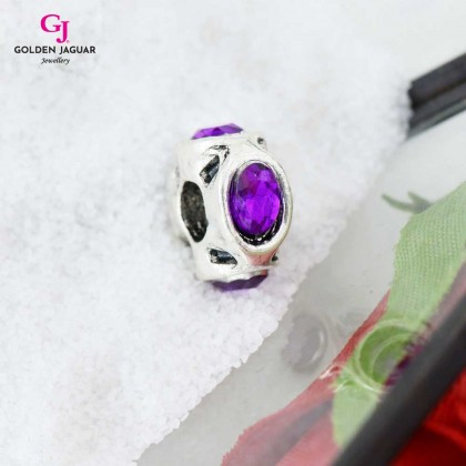 GJ Jewellery Emas Korea PDR - Charm Frieza Silver with Purple Diamond