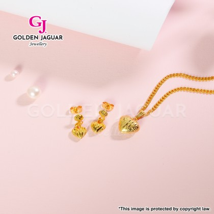 [Combo Love Set] GJ Jewellery Emas Korea Love Padu Zirkon with Papan Necklace + Love Pasir Earrings