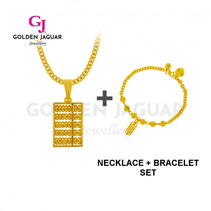 [Combo Set] GJ Jewellery Emas Korea 24K Gold Plated - Sempoa Papan Necklace + Sempoa Bulan Sabit Bracelet (Combo-002-2)