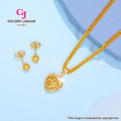 GJ Jewellery Emas Korea Exclusive Combo - Sakura Necklace Earring Set (B-A1)