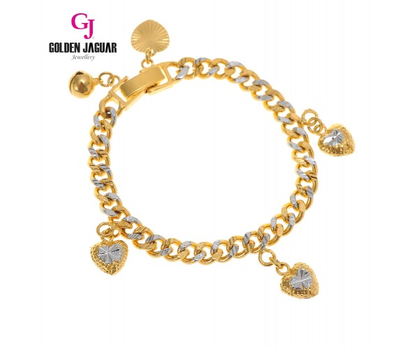 GJ Jewellery Emas Korea Bracelet - Papan Pasir Kikir + Love Mix | Kids | 5.0 (9580526-1)