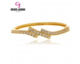 GJ Jewellery Emas Korea Bangle - Zirkon Irregular Triple Layer | Hook (5765204)