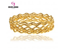GJ Jewellery Emas Korea Bangle - Beth Kikir Wave | 3pcs | Slip-On (5565509)