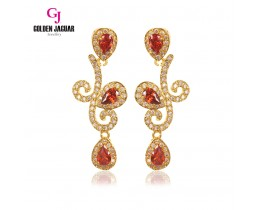 GJ Jewellery Emas Korea Earring - Twigs Water Drop Zirkon | Red (6761309)