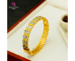 GJ Jewellery Emas Korea Bangles - Love Pasir Kikir Double Mix | Hook (5586031)