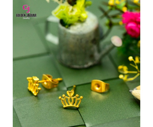 GJ Jewellery Emas Korea Earrings - Crown (6961010)