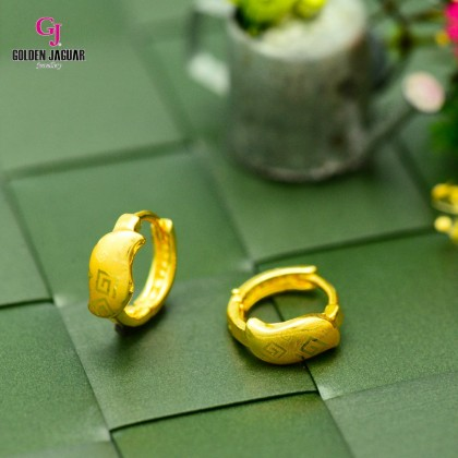 GJ Jewellery Emas Korea Earrings - Bulat Licin Tebal | Nut Maze (6962316)