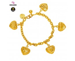GJ Jewellery Emas Korea Bracelet - Sauh + Love Hollow | 5.0 (2660520-3)