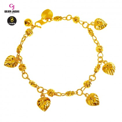 GJ Jewellery Emas Korea Bracelet - Bulan Sabit 9 + Audi Kikir with Love Kikir (226050606-1)