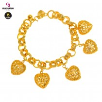 GJ Jewellery Emas Korea Bracelet - Audi Kikir + Love Hollow | 10.0 (2661004-4)