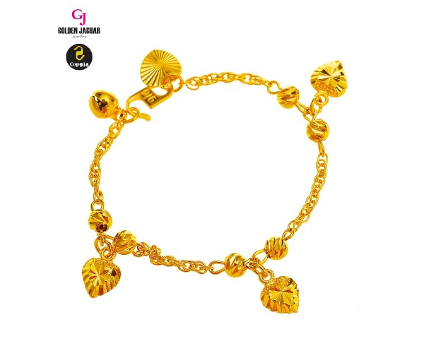 GJ Jewellery Emas Korea Bracelet - Kendi Double + Bulan Sabit 9 with Love | Kids (966020432-1)