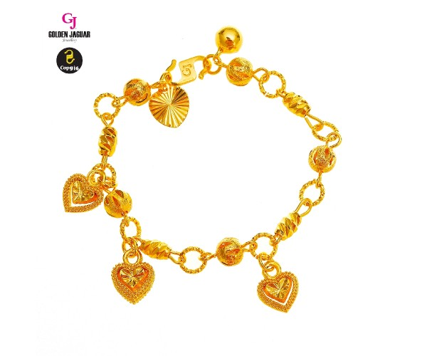GJ Jewellery Emas Korea Bracelet - Bulan Sabit 9 + Bebola Hollow with Love 3D | Kids (9260414-1)