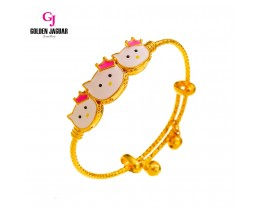GJ Jewellery Emas Korea Bangle - 3 HK Kikir | Kids | Adjustable (9565834)