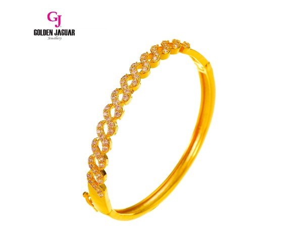 GJ Jewellery Emas Korea Bangle - Zirkon 8 Padu | Hook (5765110)